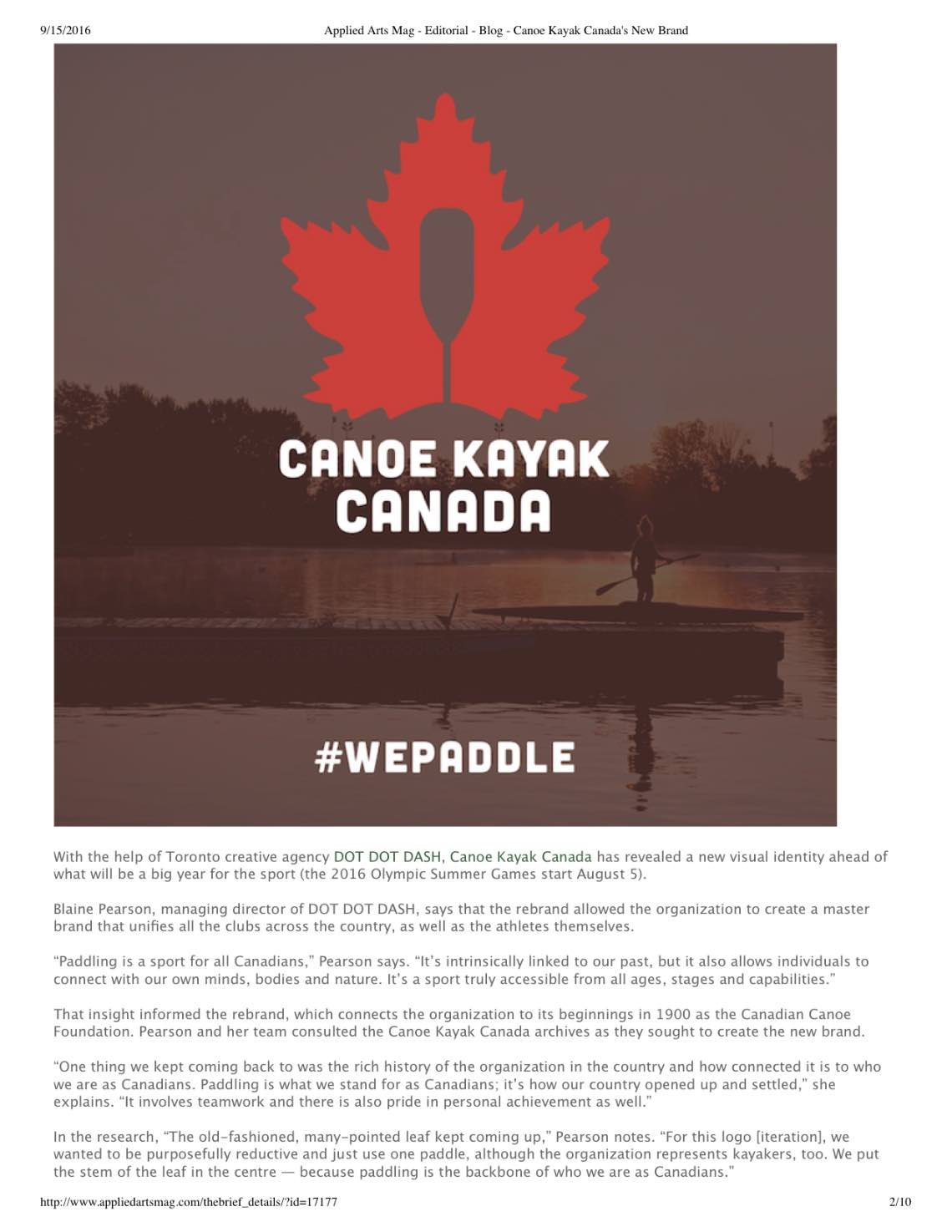 Applied Arts Mag - Editorial - Blog - Canoe Kayak Canada
